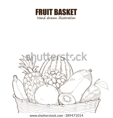 Fruits And Vegetables Basket Drawings Fall Coloring Pages