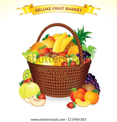 Fruit Basket Vector. A Woven Basket Filled with Ripe, Colorful Fruits.