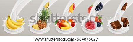 Fruit, berries and yogurt. Realistic illustration 3d vector icon set 3