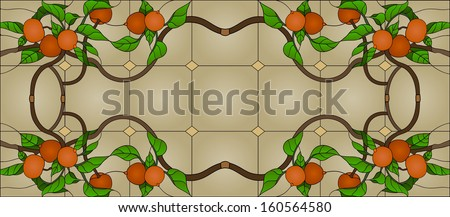 Fruit branch, stained glass window - stock vector