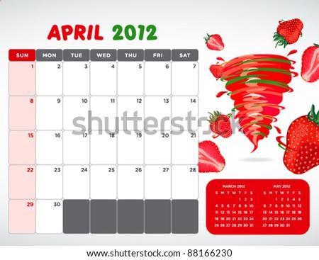fruit calendar 2012 - April - stock vector