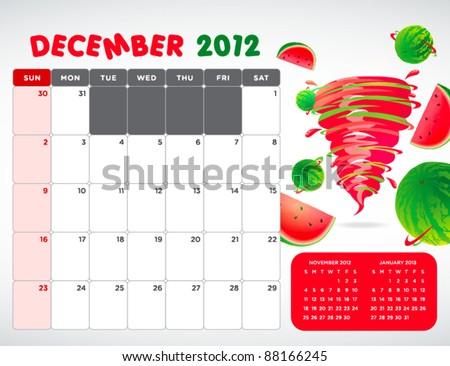 fruit calendar 2012 - December - stock vector