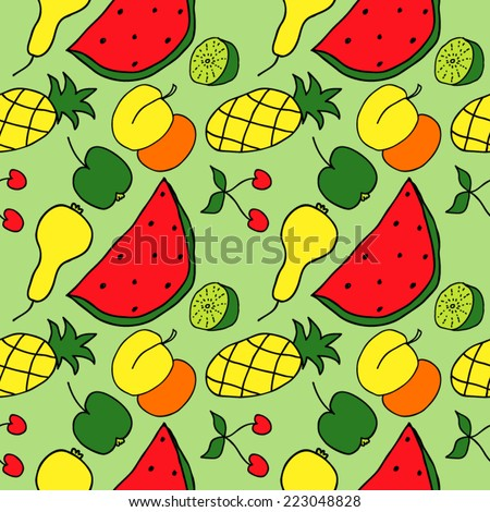 Fruit Color Hand Drawn Seamless - stock vector