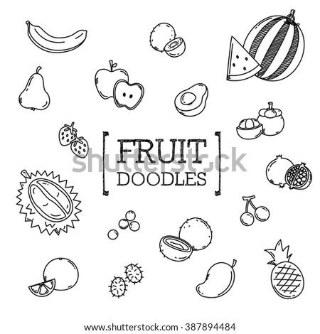 Fruit doodles set - stock vector