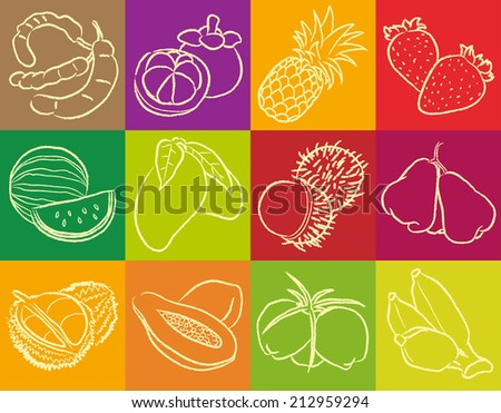 Fruit Drawing Outline Vector