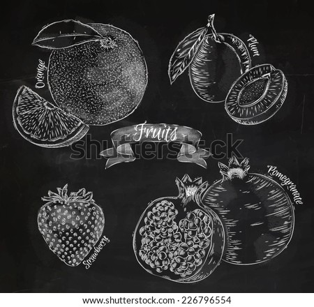 Fruit drawn in chalk on a blackboard set, orange, plum, strawberry, pomegranate - stock vector