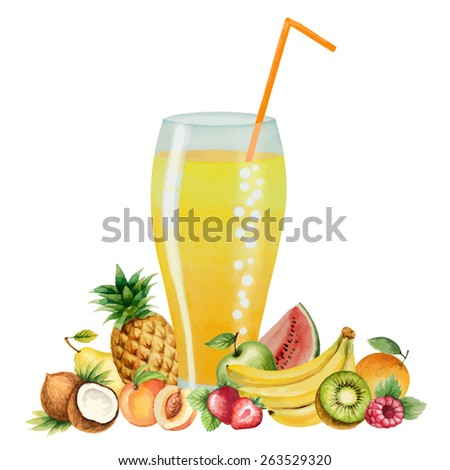 Fruit drink in glasses and fruit, watercolor vector illustration. Separately all the elements. - stock vector
