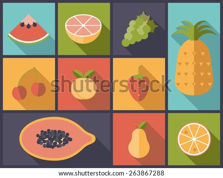 Fruit Flat Icons Vector Illustration. Flat design illustration with various fruit symbols. - stock vector