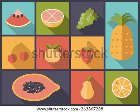 Fruit Flat Icons Vector Illustration. Flat design illustration with various fruit symbols. - stock vector