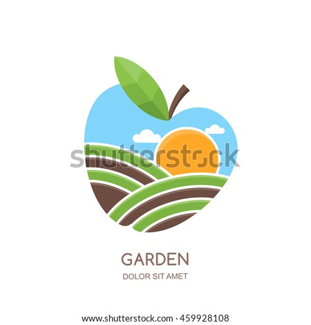 Fruit gardens and farming vector logo, label, emblem design. Fields landscape in apple shape. Concept for agriculture, harvesting, gardens, natural farm, organic products.