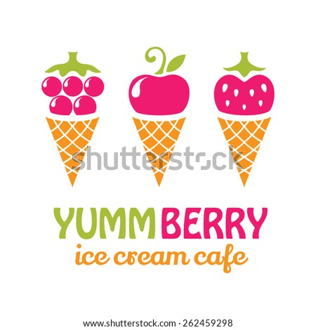 Fruit ice cream logo design. Ice cream cafe logotype concept icon. - stock vector