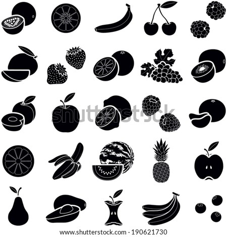 Fruit icon collection - vector silhouette illustration