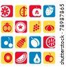 Fruit icon set - stock vector