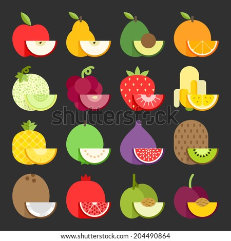 Fruit icon set, vector - stock vector