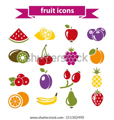 fruit icons - stock vector