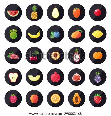 Fruit icons big vector set. Modern flat design. Multicolored. - stock vector