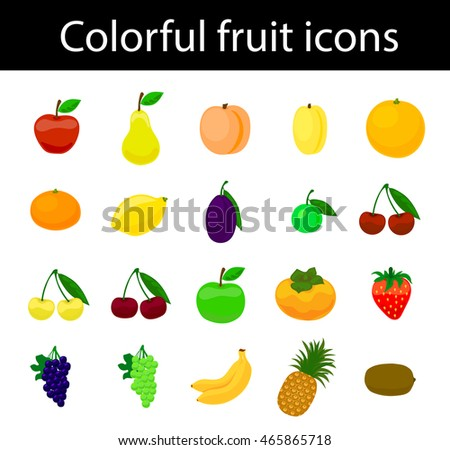 Fruit icons colorful vector set for web and print