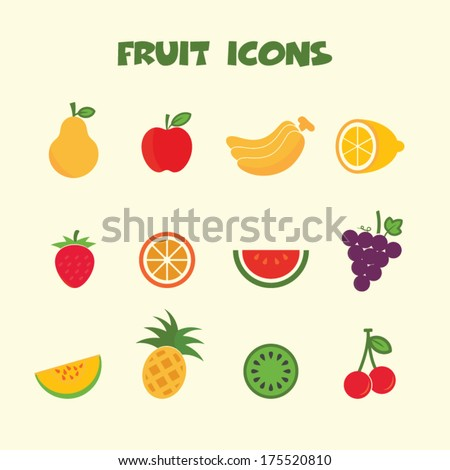 fruit icons, colorful vector symbols - stock vector