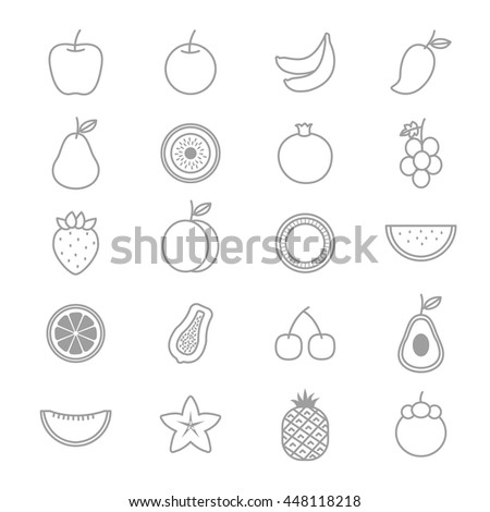 Fruit Icons Line Set Of Vector Illustration - stock vector