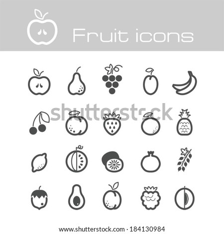 fruit icons set - stock vector