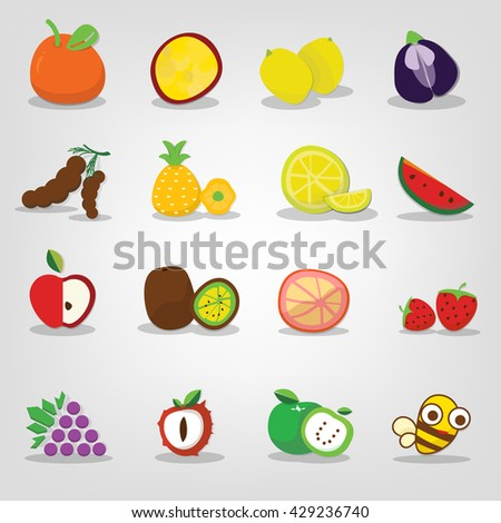 fruit icons set, Set of colorful cartoon fruit icons. Fruits vector. - stock vector