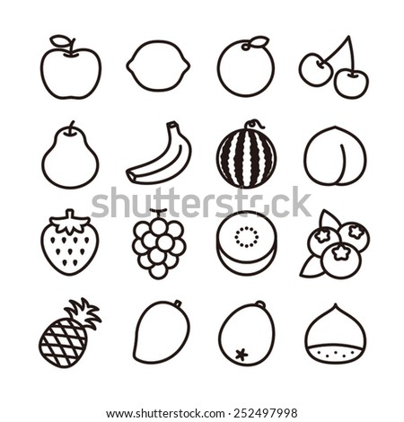 Fruit icons / vector illustration