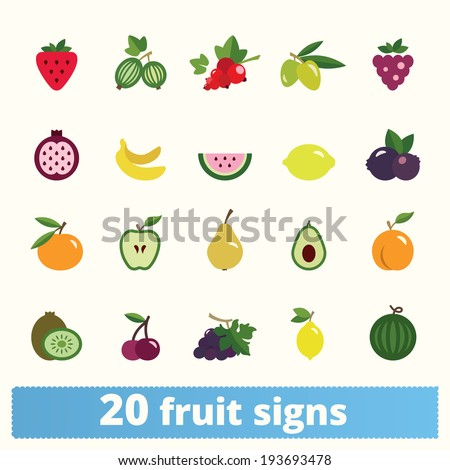 Fruit icons: vector set of flat food signs - stock vector
