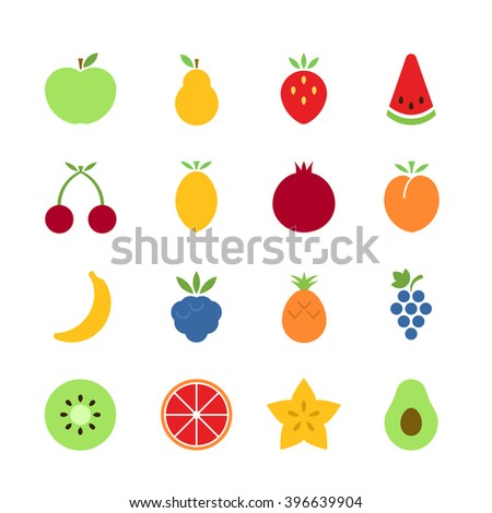 Fruit icons. Vector set of simple icons. EPS 8. - stock vector