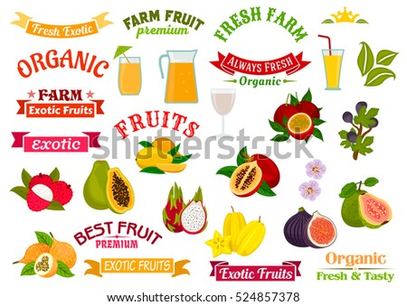Fruit juice badges set. Organic farm and tropical exotic fruits papaya, orange, lychee, dragon fruit, fig, guava, carambola, passion fruit maracuya. Juice in glass, badge, ribbons, symbols.