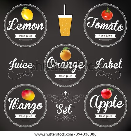 fruit juice. Detailed Vector label. Series of food and drink.