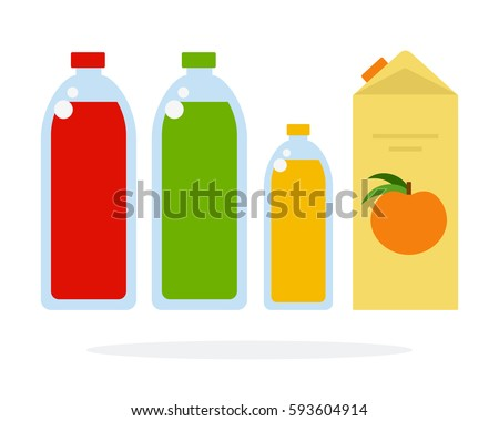 Fruit juice in bottles and paper box vector flat material design isolated on white