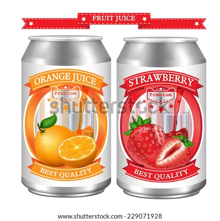 Fruit juice Label vector visual on can, ideal for fruit juice. Can drawn with mesh tool. Fully adjustable & scalable. Vector illustration  - stock vector