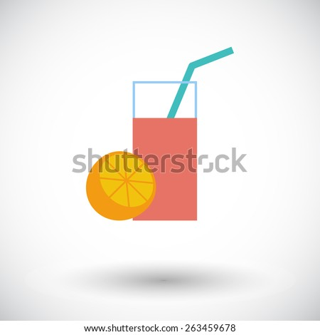 Fruit juice. Single flat icon on white background. Vector illustration. - stock vector