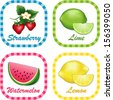 Fruit Labels. Watermelon, Limes, Strawberries. Lemons.  Fresh summer fruits in square gingham check tags with text labels isolated on white background. EPS8 compatible. - stock vector