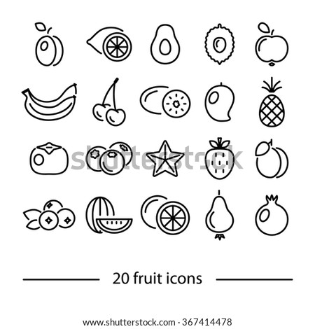 fruit line icons - stock vector