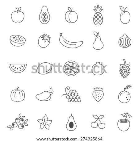 Fruit line icons set.Vector - stock vector
