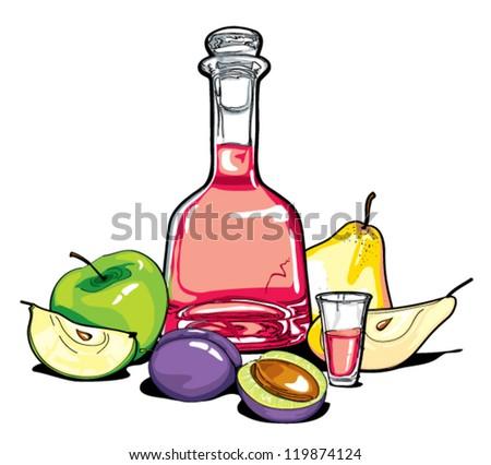 fruit liquer - stock vector