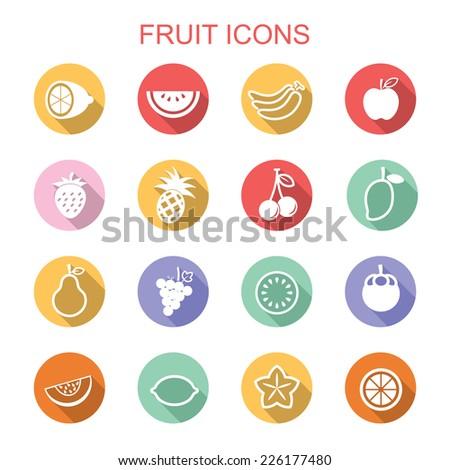 fruit long shadow icons, flat vector symbols - stock vector