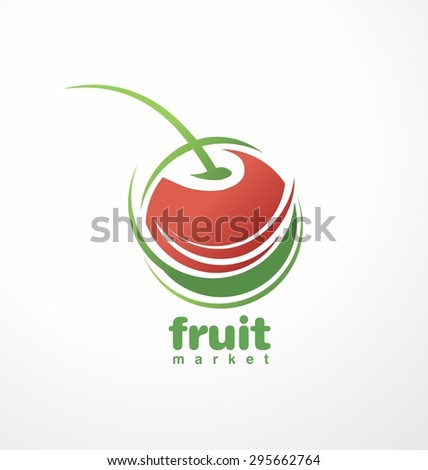 Fruit market logo design layout. Fruit and juice symbol theme with fresh cherry. Organic food unique icon. Food and drink concept. - stock vector