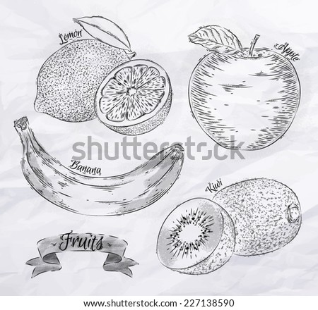 Fruit painted in vintage style cabbage lemon, apple, banana, kiwi - stock vector