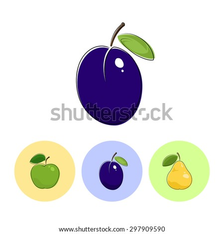 Fruit Plum  on White Background , Set of Three Round Colorful Icons  Apple, Plum and Pear, Vector Illustration - stock vector