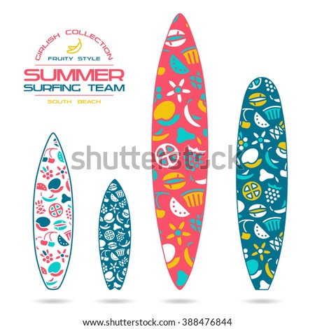 Fruit  prints in flat style for various forms of surfboard: shortboard, longboard; fish and gun