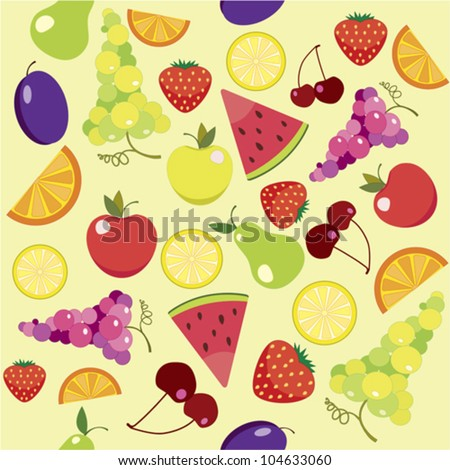 Fruit Seamless Pattern. Bright Seamless pattern of juicy summer fruits - stock vector