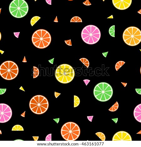 Fruit seamless pattern in memphis style.
