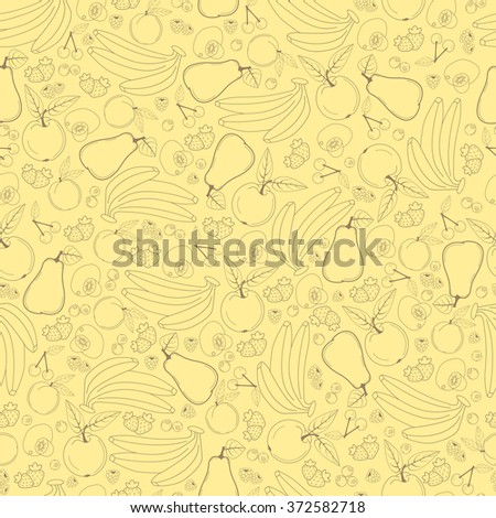 Fruit seamless pattern in pastel shades, line design fruits, banana apple cherry pear apricot kiwi strawberry raspberry blueberry currant plum peach, background, vector