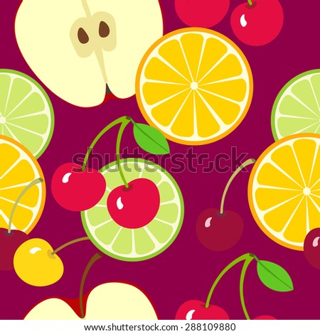 Fruit seamless vector pattern. Apple, orange slice and cherries. Fruit summer bright  background