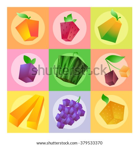 Fruit set: apple, pear, strawberry, watermelon, cherry, grape, orange, plum and banana