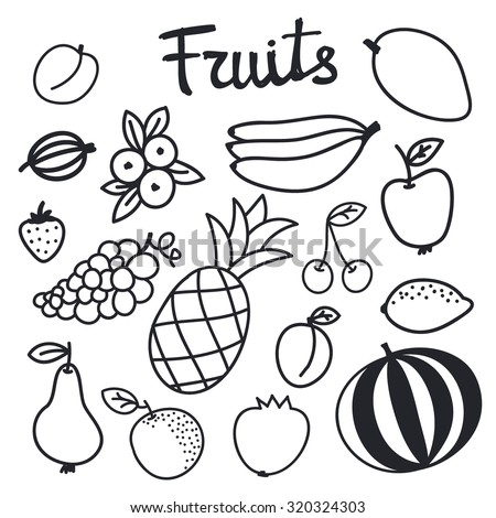 fruit set hand drawn black and white different cartoon fruits doodle drawing