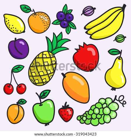 Fruit set. Hand-drawn different cartoon fruits. Doodle drawing. Vector illustration.