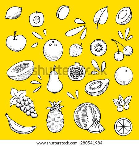 fruit set, hand drawn, vector illustration - stock vector